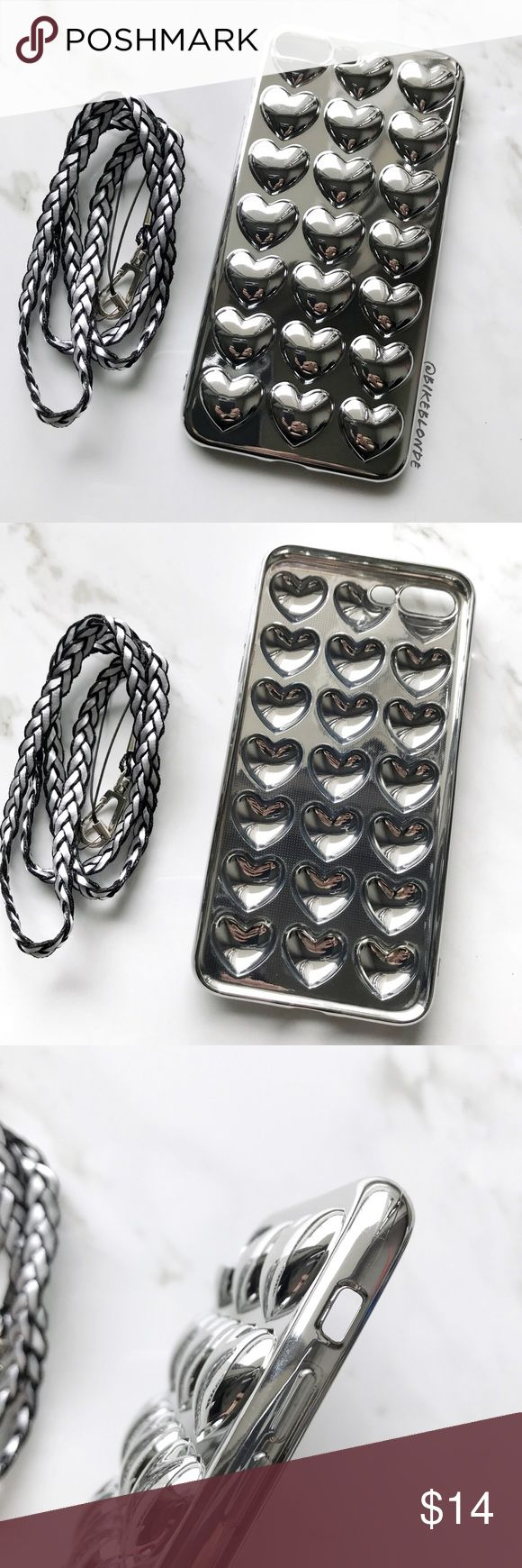 NEW iPhone 7/8/7+/8+ Silver 3D Hearts Soft Case ▪️Metallic Silver 3D Heart Pattern  ▪️New In Package , Choose 7/8 or 7 Plus/8 Plus Below  ▪️Soft TPU, Easy To Remove, Comes With Strap          ▪️Same or Next Business Day Shipping Accessories Phone Cases