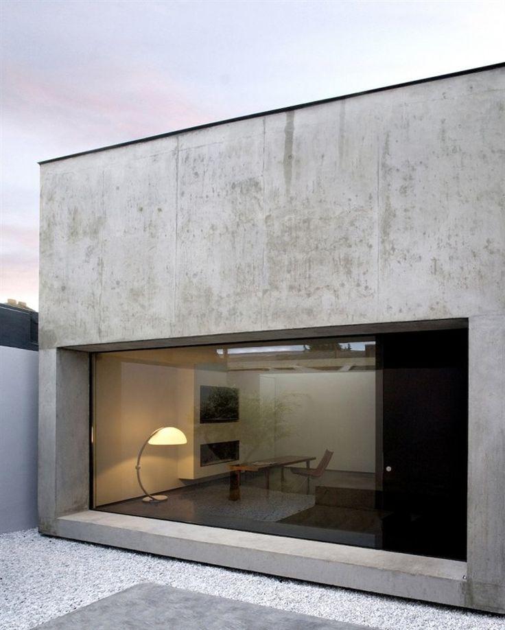baie vitrée, murs en béton