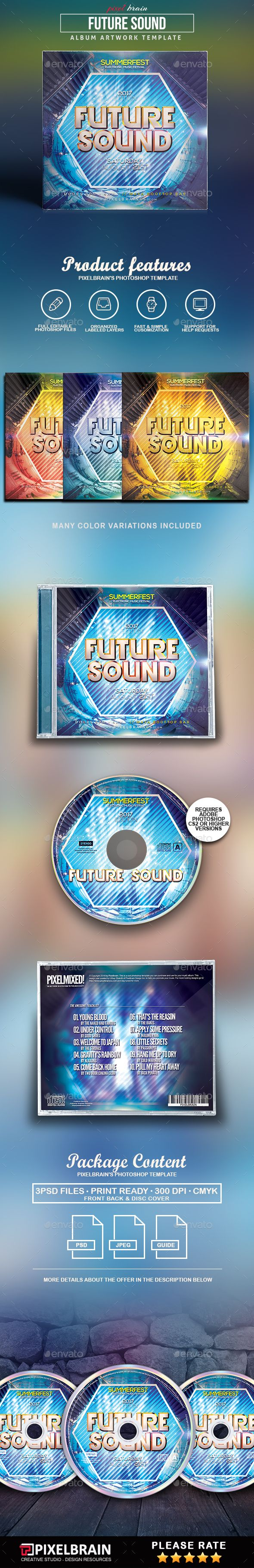 Future Sounds CD #Cover Artwork - #CD & DVD #Artwork Print #Templates Download here:  https://graphicriver.net/item/future-sounds-cd-cover-artwork/19543842?ref=alena994