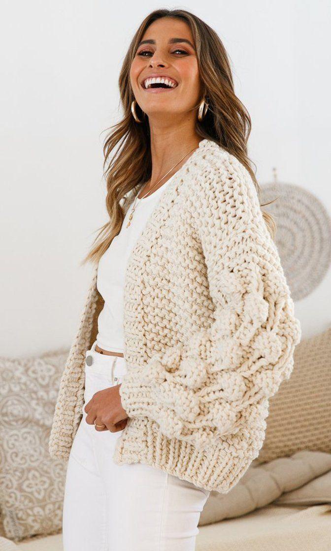 Desert Bound Cream Long Sleeve Bubble Chunky Crochet