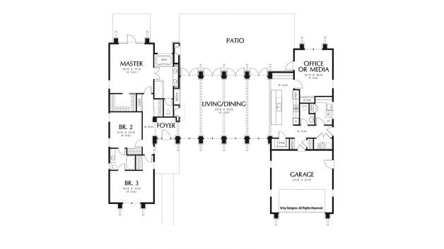 """edrooms:3 Half Baths:1 Baths:2 Living Area:2,557 sq.ft. Width:78' Foundation:Crawlspace Depth:62' 6"""" Stories:1 Styles:Contemporary-Modern Homes Shed Home Plans Southwestern Home Plans Ranch Home Plans Garage Bays:2"""