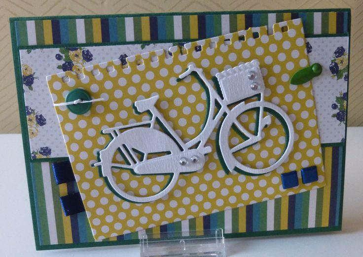 Gemaakt door Marleen Broeders. Papier: Collectable van My Mind's Eye. Mal fiets: Marianne Design.