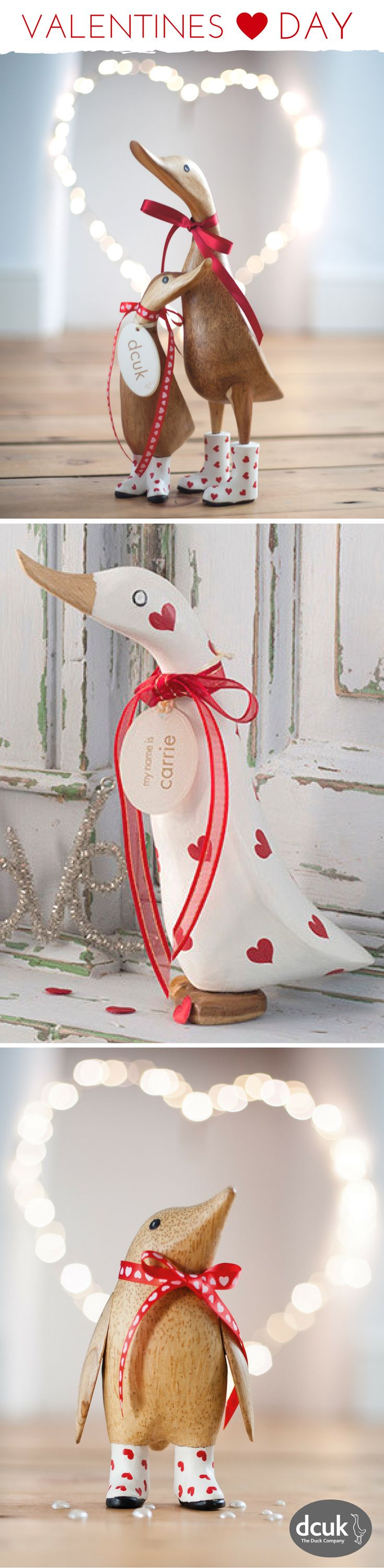 Our collection of personalised gifts for Valentines Day includes ducks and penguins. Each can be personalised with the name of your choice. See more on our website at DCUK!
