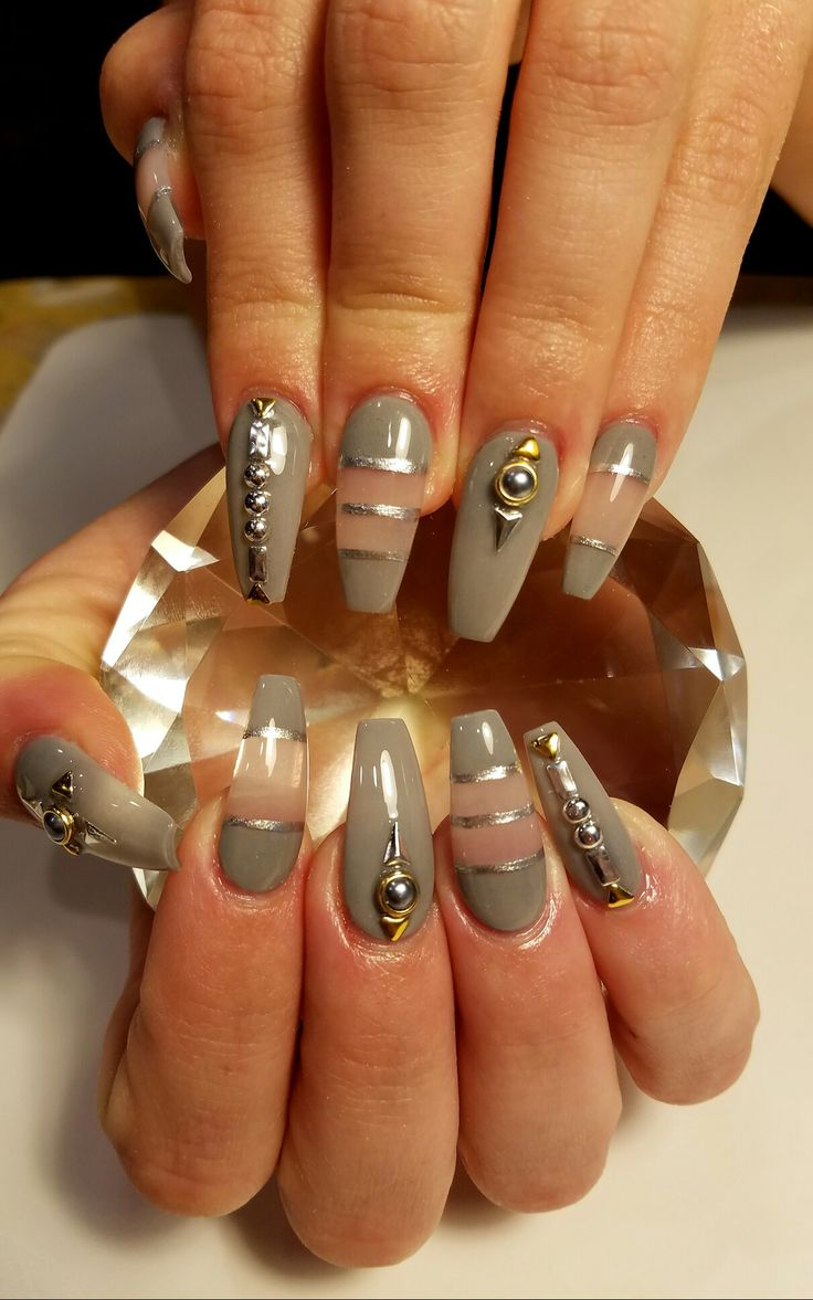 Gray, negative space and studs coffin nails | Flirtatious ...