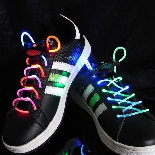 Rainbow LED Light Up Flashing Shoelaces + Extra Batteries by DirectGlow LLC. $9.95. These multicolor LED shoes laces are a hit with kids! They are battery operated and completely safe. Multicolor LEDs shine radiant and bright enhancing safety at night time. Three modes of operation include fast flash, slow flash, and color phase. Everything is controlled by simple push button operation.  Each set purchased includes 2 pieces, one for each shoe. One extra set of bat...