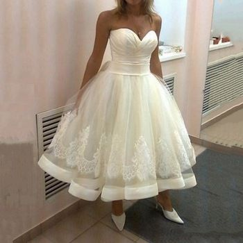 Summer Style Sweetheart Lace Ivory Bridal Plus Size Ball Gown Wedding Dress Short Front Long Back Vestido De Noiva Curto 2015