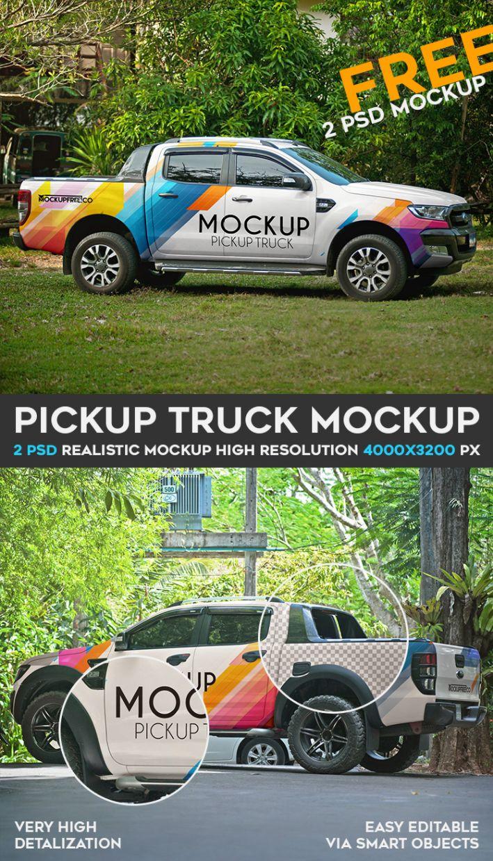 Pickup Truck Mockup Psd Template Ltheme Mockup Free Psd Mockup Psd Free Mockup