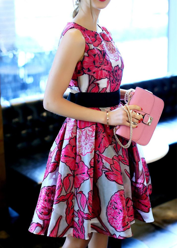 Rose Red Sleeveless Tie-waist Floral Dress -SheIn(Sheinside)