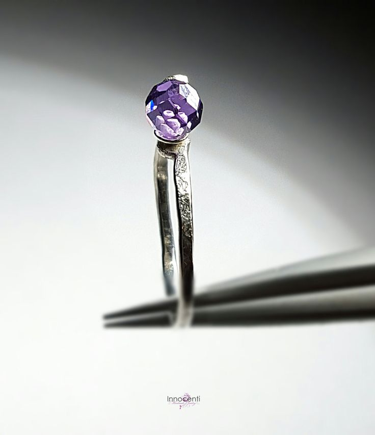 Amethyst Stacking Ring Stacking Amethyst Ring Purple Cubic Zirconia Ring Purple Ring Barely There Ring Skinny Amethyst Ring by INNOCENTIJEWELRY on Etsy