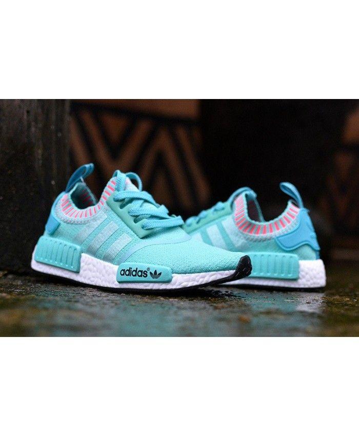new concept a79db 7b247 Adidas NMD Womens Primeknit Sky Blue Pink Shoe
