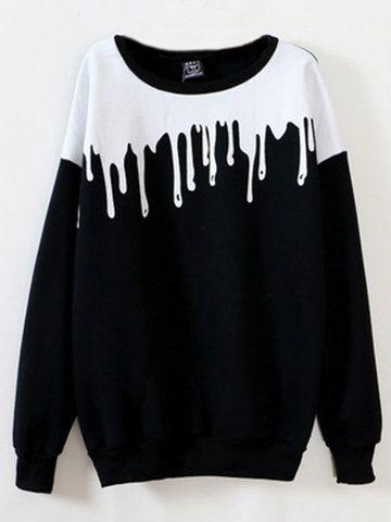 Stylish Casual Long Sleeve O Neck Printed Sweatshirt For Women - NewChic