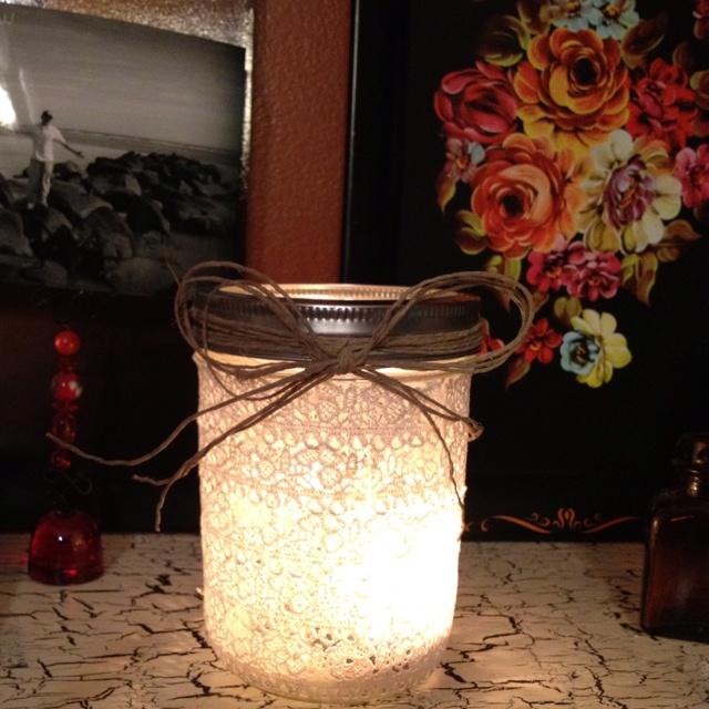 Mason jar wrapped in lace ribbon! Oh how I love mason jars!!