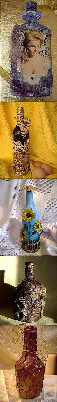 Botellas.  Decoración.  Ideas de Internet.