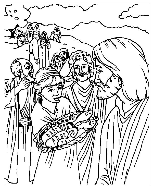 Jesus Feeds 5000 Coloring Page Bible Activities