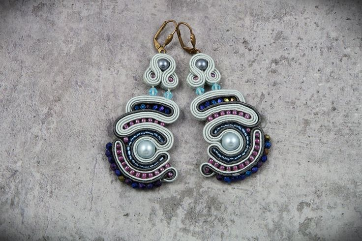 soutache earrings with pearls by AnnaZukowska on Etsy