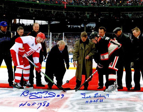 Bobby Hull & Ted Lindsay Signed Blackhawks vs Red Wings 2009 Winter Classic Puck Drop 11x14 Photo w/HOF 1983, HHOF'66