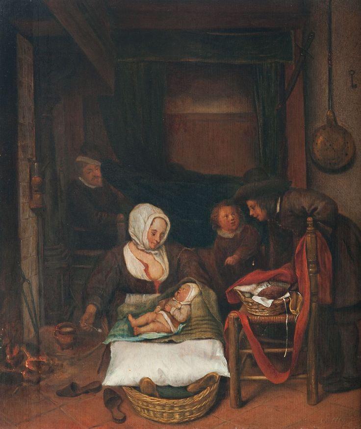 Een schilderij uit circa 1650 met als voorstelling een kraamkamer. Een huiselijk tafereel in een 17e eeuws interieur; zittend bij het vuur de baker met het pasgeboren kind in de bakermat, twee...   toegeschreven Jan Steen   1650   Stedelijk Museum Zutphen   CC BY