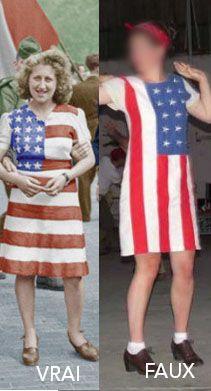 Faux : la longueur de la robe et le sens du drapeau. La coiffure est à revoir