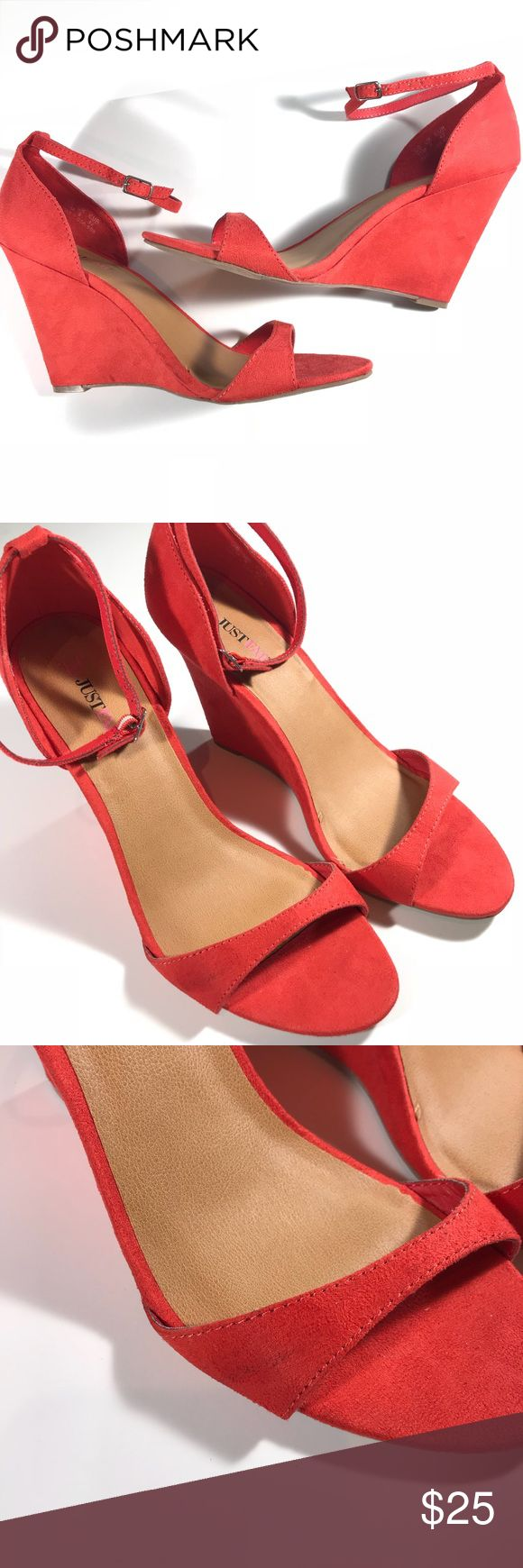 Just Fab • Suede Coral Wedge Sandals Just Fab Great Used 11M Light stain as shown in image, untreated. Should be able to remove with alcohol and a toothbrush as the wedges are suede. JustFab Shoes Wedges