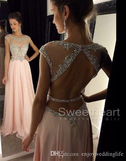 2016 New Cap Sleeves Chiffon Beaded Evening Dress Illusion Crystals Top Backless Floor Length Party Prom Formal Gowns Boutique Evening Dresses Brown Evening Dress From Enjoyweddinglife, $87.13| Dhgate.Com