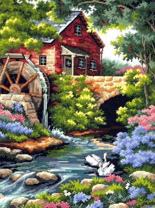 "Needlepoint kit 12"" x 16"" OLD MILL COTTAGE"