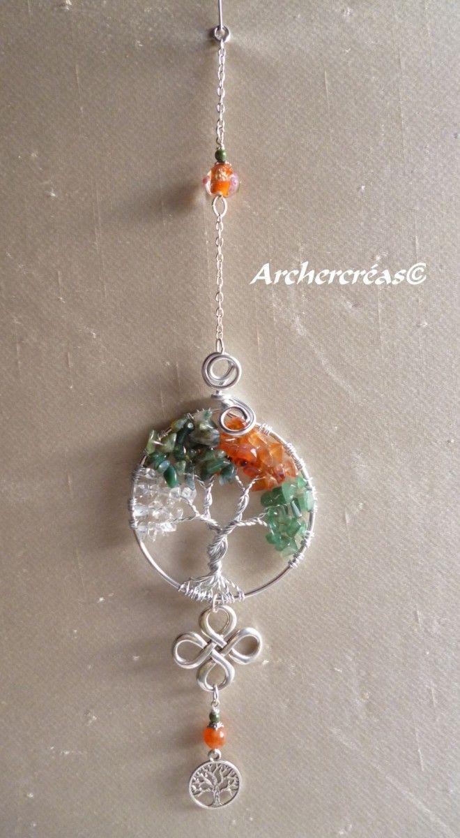Arbre de vie, les 4 saisons, pierres de cornaline, aventurine, cristal de roche, agate mousse, pièce unique, artisanat Français, yggdrasyl