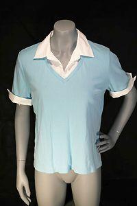Sky Blue Karen Scott V Neck Blouse Shirt Size L | eBay