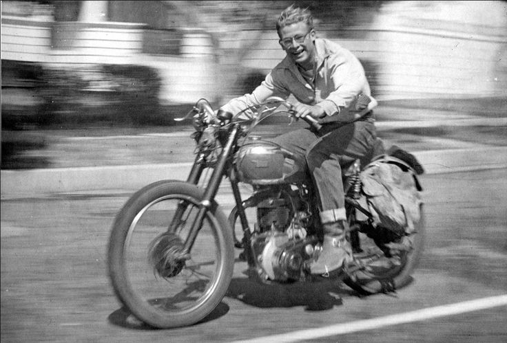 James Dean riding his motorcycle