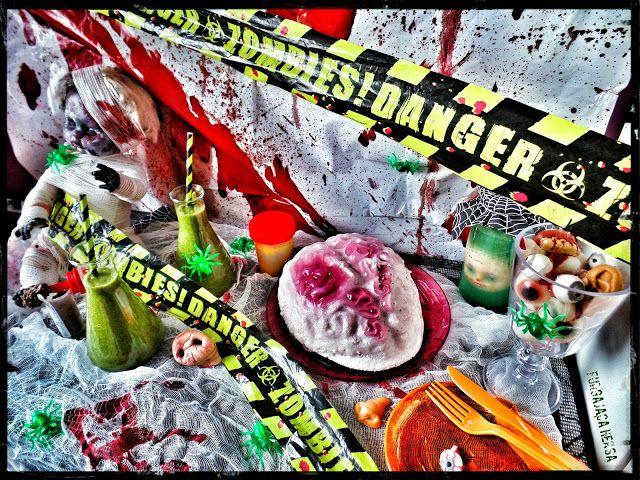 Furgająca Heksa Zombie apocalypse. Apokalipsa zombie. jelly brain, green smoothie, lemon curd, chocolate mousse, scary decorations. Zielone smoothie, koktajl, mózg z galaretki i ptasiego mleczka, mus czekoladowy, straszne dekoracje.  Halloween decorations.  Dekoracje na halloween. Halloween food. Jedzenie na halloween