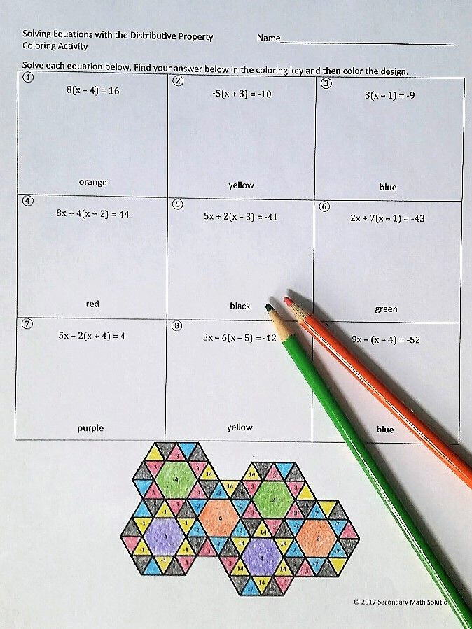 This is a fun coloring activity with 9 questions. The student solves the equation, finds the solution in the tessellation design and colors it. In addition to using the distributive property, the student will need to also combine like terms in order to solve the equation. The questions are scaffolded and increase in difficulty; the last 3 equations contain distributing a negative.