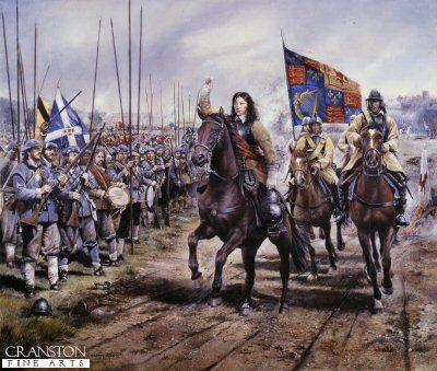 Battle of Worcester, 3rd September 1651 by Chris Collingwood.    Charles II rides out to lead his army including many Scots who fought on his side.