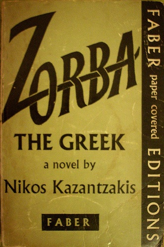 Zorba The Greek, a novel by Nikos Kazantzakis. Book designer unknown.  First published in Faber in 1961.  http://www.flickr.com/photos/23023719@N04/2238310905/in/photostream