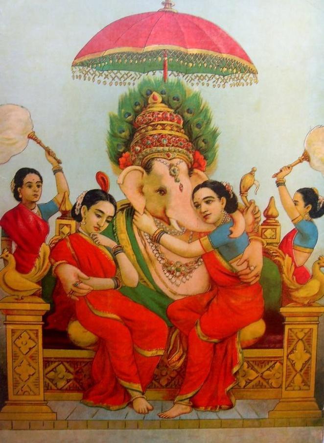 Ganesa with Consorts, Raja Ravi Varma, 19th c. oleo lithograph