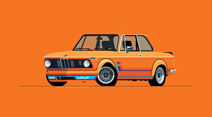 L-Dopa, 1974 BMW 2002 Turbo illustration print