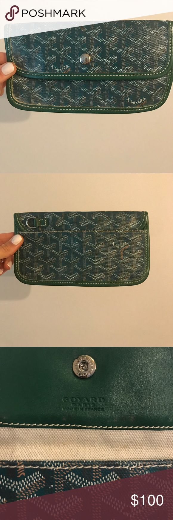 Goyard green wallet Goyard wallet in green! In great condition. Also great for checkbooks or lipgloss to throw in a purse! 100% authentic Goyard Bags Wallets