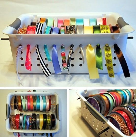 Blog with LOTS of great organization tips for anyone who is crafty and needs new ideas for how to store thier ribbon, bows and wrapping paper!