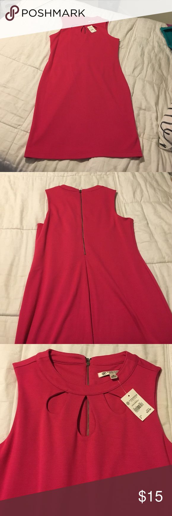 Pink bodycon dress Cute pink bodycon dress with teardrop front detail! New with tags! Versona Dresses Midi