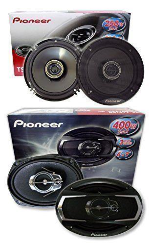 """PIONEER SPEAKER PACKAGE 1 Pair 6.5"""" TS-G1645R 250 Watts + 1 Pair 6X9 TS-A6965R 400 Watts**. Pioneer TS-G1645R 6-1/2"""" 2-way car speakers. power range: 2-40 watts RMS (250 watts peak power). Pioneer TS-A6965R 6""""x9"""" 3-way car speakers. power range: 5-60 watts RMS (400 watts peak power)."""