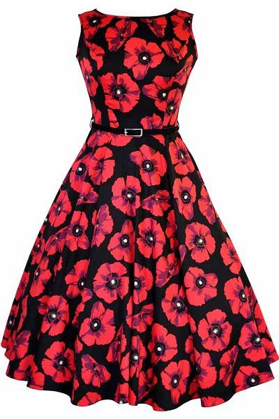 Red Poppy Black Hepburn Dress