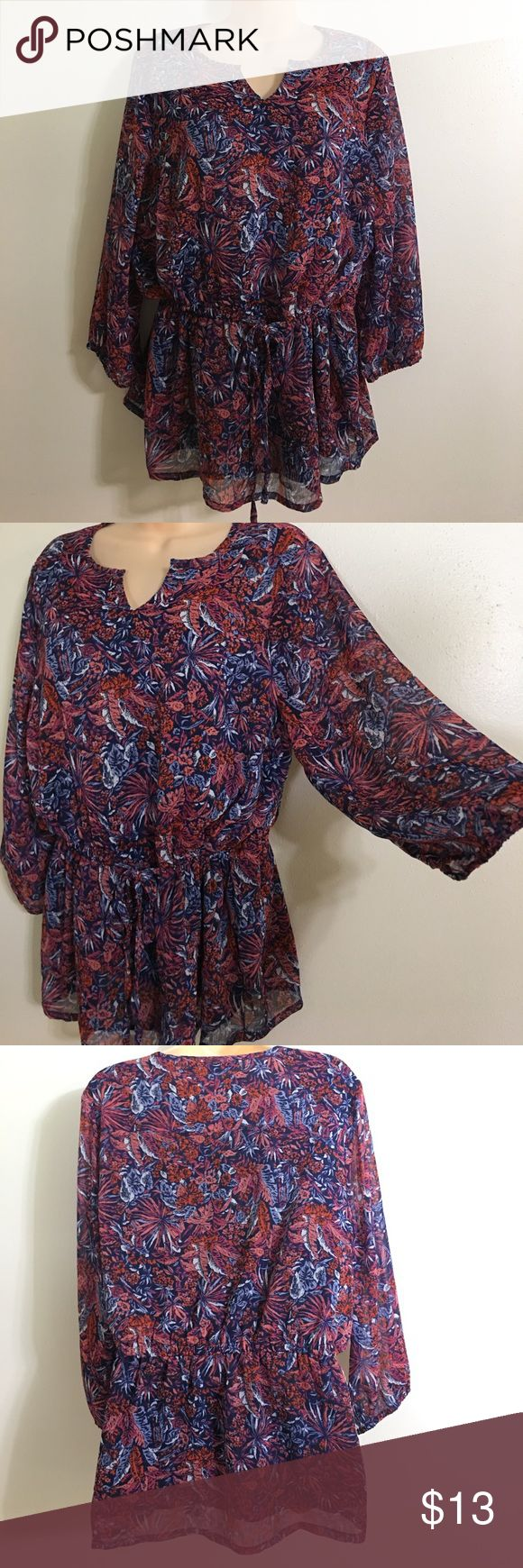 LIZ Claiborne NY bohemian Top drawstring Waist❤️ LIZ Claiborne New York bohemian Top with drawstring Waist . Great fit and trendy style! Excellent used condition ❤️ Liz Claiborne Tops Blouses