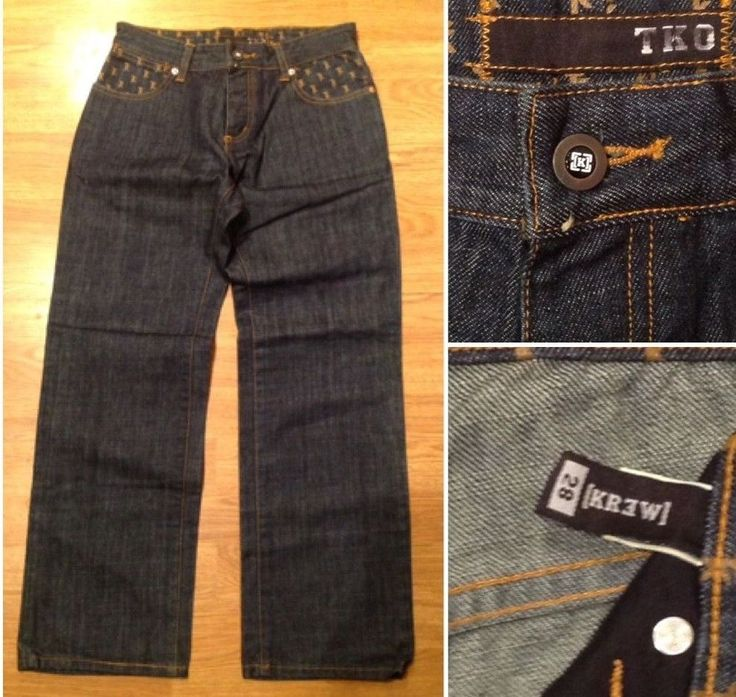 KR3W Krew TKO Mens 28X28 Dark Blue Denim Relaxed Button Fly Skater Jeans Pants  #KrewTKO #Relaxed