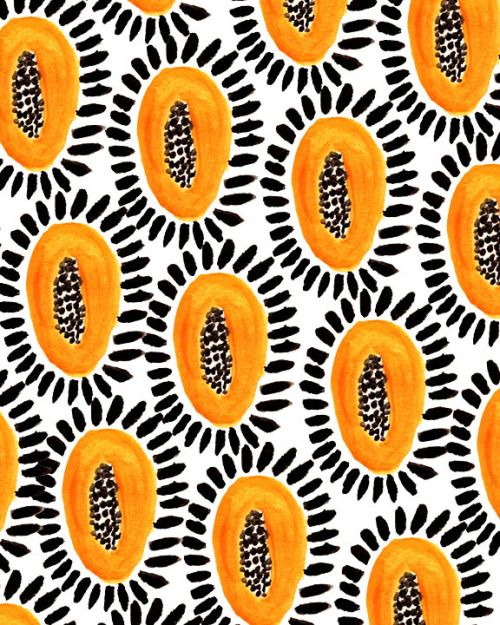 would be lovely on fabric, chair ,cermaic tiles or a Print. orange saffron yellow mango pips seeds black white