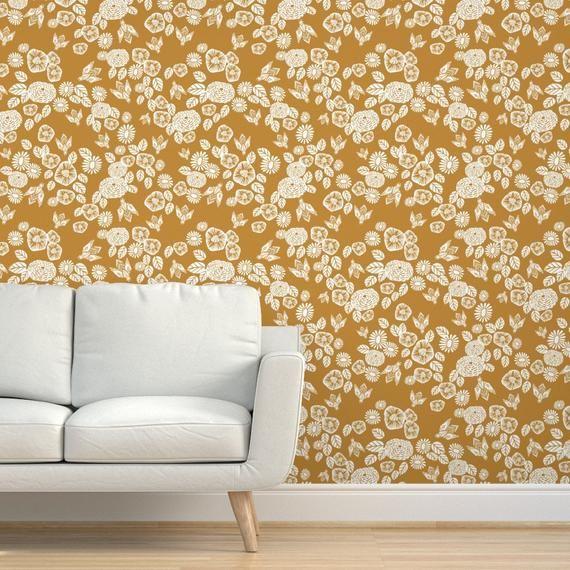 Bee Wallpaper Bee Garden Florals Mustard Yellow By Andrea Etsy Wallpaper Drawer And Shelf Liners Custom Wallpaper