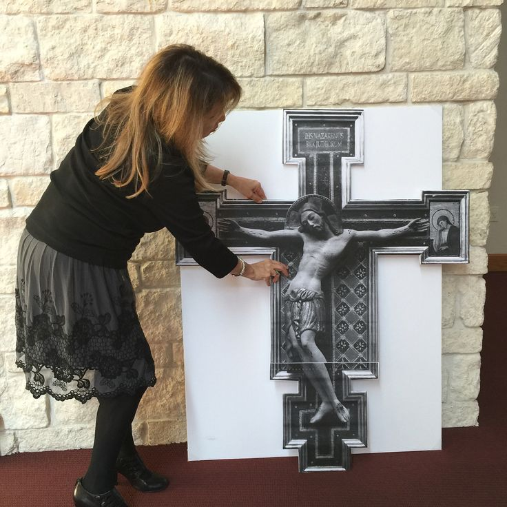 Life-size sketches designed and strategically placed at St. John Vianney Catholic Church in Houston, TX, to help parishioners visualize how finished pieces of sacred art would look in their new church and encourage fundraising participation. Art and interior design by Rohn & Associates Design.