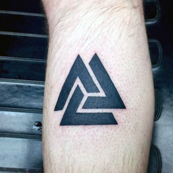 Small Simple Mens Black Valknut Tattoo On Arm Tattoos border=
