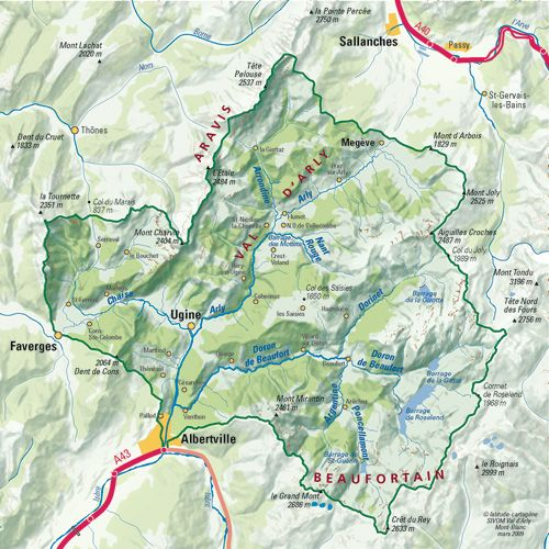 Les rivières du bassin versant Le bassin versant de l'Arly s'étend sur 640 km² et draine avec près de 300km de cours d'eau, 3 sous bassins versants aux fortes identités : - le Val d' Arly - le Beaufortain - le Pays de Faverges