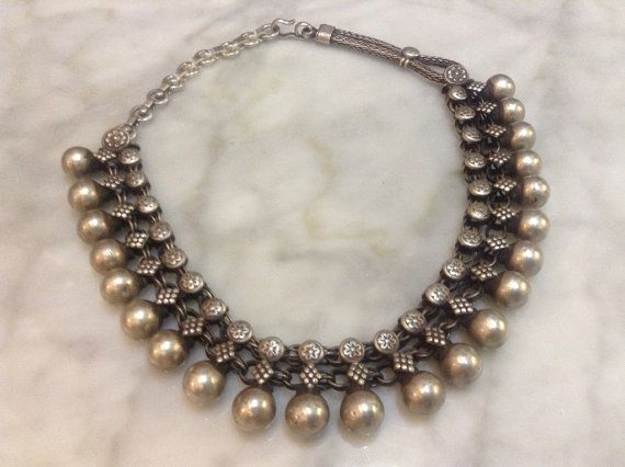 Vintage Rajasthani Hand-linked Silver Balls Necklace by OKOgallery