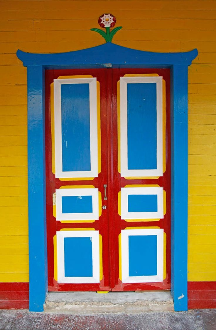 A Bright, Colorful Door Of A House On Isla Mujeres, Cancun