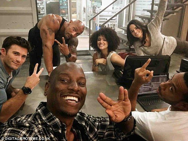Group photo: Ludacris earlier this month also posted a photo from the set featuring franchise regular Michelle Rodriguez and Tyrese Gibson