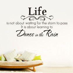 Dance in the rain II!  Life isn't about waiting for the storm to pass, it's about learning to dance in the rain. Dekorera hemmet med en snygg och motiverande väggtext! Den enkla färgen gör att den lätt smälter in bland befintlig inredning.  Länk till produkt: http://www.feelhome.se/produkt/dance-in-the-rain-ii/  #Homedecoration #art #interior #design #Walldecor #väggdekor #interiordesign #Vardagsrum #Kontor #Modernt #vägg #inredning #inredningstips #heminredning #livet #citat #motivation